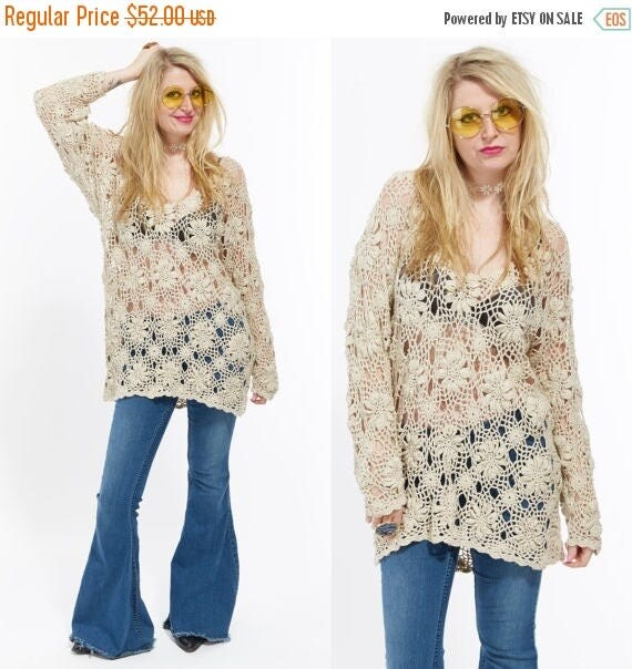 Vtg 80s 90s Beige Nude Floral Blouse Tunic Top Dress CROCHET CUT OUT Hippie Festival Boho Nautical Gypsy Resort Grunge lace Draped Minimal L
