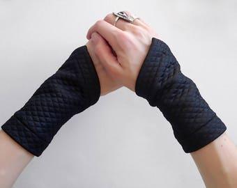 Black arm warmers wrist black cuffs fabric bracelets cyberpunk short fingerless gloves jersey wrist tattoo cover - GAU-L