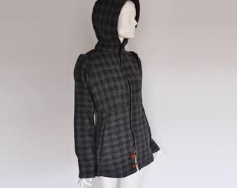 10-12 handmade Jacket coat autumn grey wool zipper