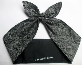 Pinup Rockabilly  Headband Head Scarf Hair Wrap tie Black White Bandana print paisley