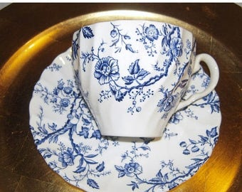 Old Bradbury , Johnson brothers  CUP AND SAUCER  Blue and White