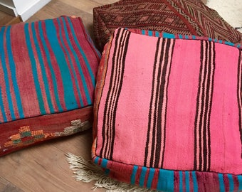 Big floor pillow Handmade Moroccan poof 100% wool kilim 60x60x20cm