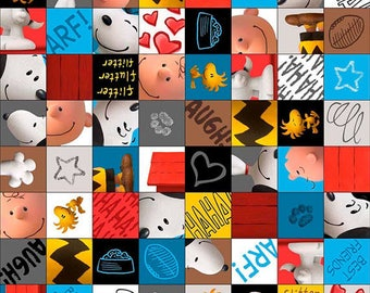 GOOD FRIENDS - Character Checkerboard in Multi - Charlie Brown Peanuts Cotton Quilt Fabric - Quilting Treasures Fabrics - 26187-X (W4374)