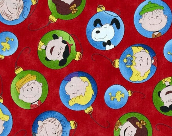 PEANUTS - Christmas Time - Character Ornaments in Red - Charlie Brown and Snoopy Cotton Quilt Fabric - Quilting Treasures - 22655-R (W4024)