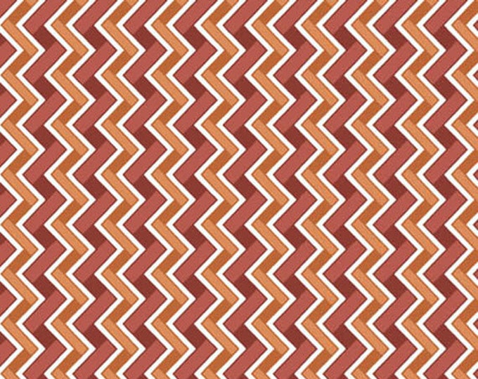 HEADS UP - Chevron Stripe in Rust Brown Red and Orange - Cotton Quilt Fabric - Studio 8 for Quilting Treasures Fabrics - 24255-TO (W4050)