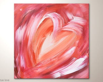 """L O V E Heart Painting, Romantic Fine Art Textured: """"True love"""" Abstract Wall Decoration With Red And White. Acrylic Modern Art Wall Hanging"""