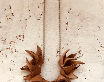 Brown Suede Necklace / Brown Necklace / Suede Necklace