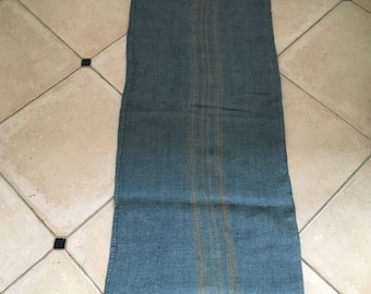 DNS49 Grey Blue Dyed Vintage Linen Grain Sack with Taupe Stripe