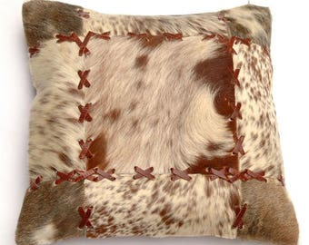 Natural Cowhide Luxurious Patchwork Hairon Cushion/pillow Cover (15''x 15'')a180