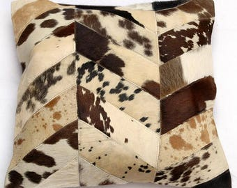Natural Cowhide Luxurious Patchwork Hairon Cushion/pillow Cover (15''x 15'')a273