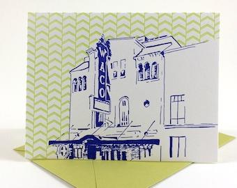 Waco, Texas Letterpress Card | Waco Hippodrome | blue & chartreuse single blank card with envelope