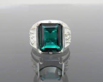 Vintage Sterling Silver Emerald & White Topaz Dragon Men's Ring Size 9