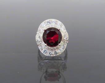 Vintage Sterling Silver Red Garnet & White Topaz Ring Size 6