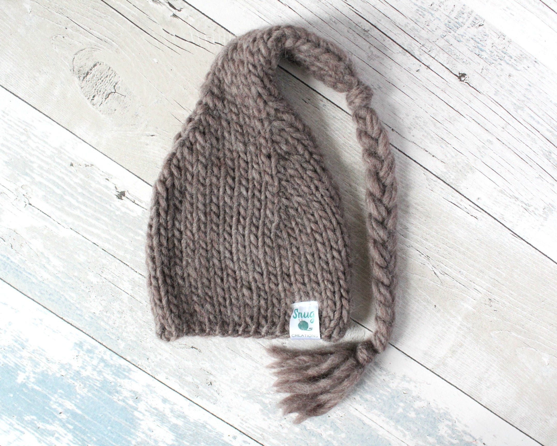 Hand Knit Hat Long Tail Beanie Hat Newborn Prop Unique Baby