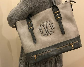 Ladies Gray Personalized Handbag - Gray Monogram Tote Bag