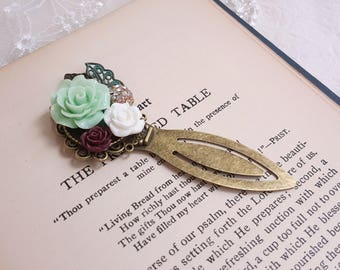 Antiqued metal clip bookmark Mint green and burgundy flower Rustic flower bookmark Flower and rhinestone assemblage Gift bookmark