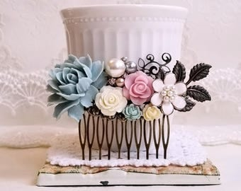 Dusty blue and pink flowers cottage chic comb Vintage inspired bridal hair comb Flower rustic hair comb