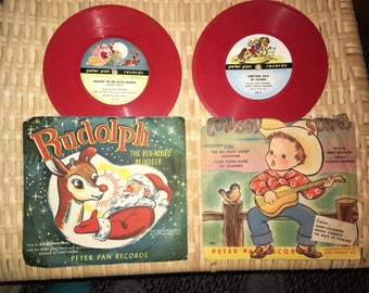 1950 Christmas PETER PAN RECORDS for children set of 2