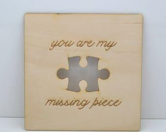 Mijn ontbrekende stuk - houten Card - unieke cadeau/Valentines/verjaardag/Love