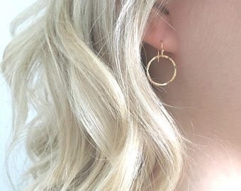 Gold Hoop Earrings, Round Hammered Hoop Earrings, Small Hoop earrings, Gold Filled Earring wires