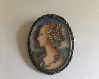 Gorgeous Antique Hand Painted Elegant Sterling Silver Broach/Pendant