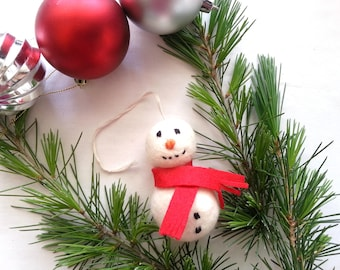 Christmas Craft kit, Snow man Christmas Tree Decoration wet felting kit with easy to follow instuctions