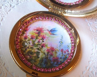 Vintage compact mirror (58) Avon Compact - Rhinestone brooch - repurposed jewelry - vintage purse mirror - jeweled mirror - hummingbird