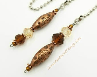 Ceiling Fan and Light Pull Chain Set Brown, Tan, Copper Home Decor.  Housewarming Gift.