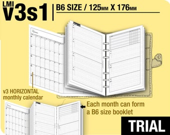 Trial  [B6 v3s1 w/o daily] February to April 2018 - Filofax Inserts Refills Printable Binder Planner Midori.