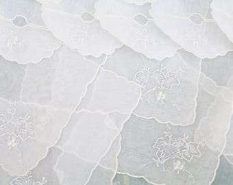 Vintage 24 Pc Set Cocktail Napkins and Wine Glass Slippers Embroidered White on White Madeira Organdy Leaves Design Coasters
