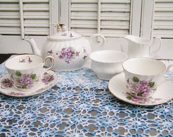 Vintage Mismatched Porcelain Tea Set for 2 Instant Tea Party 7 Pieces Tea Set Violets Luncheon Set Cottage Chic Tea Set