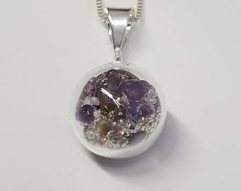 Sterling Silver Glass Orb Pendant- Amethyst