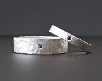 Sterling Silver Diamond Ring Set, Matching Ring Set,  Black Diamond Ring Set, Hammered Wedding Band Set, 3mm and 6mm Diamond Wedding Band