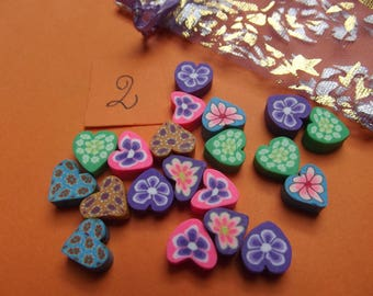 20 beads 5mm thickness, size 9mm polymer hearts.
