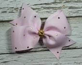 NEW Pink w/Gold Polka Dot Toddler/Girl Basic Boutique Hair Bow on Lined Alligator Clip