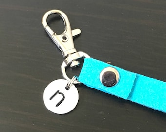 Key chain with Hand Stamped Letter - Add On Wristlet to any Pouch - Key wristlet - Wristlet Strap - Key Fob Wristlet - Wristlet for Wallet