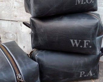 Large  Leather Dopp Kit, Antique Effect, Grey (Anthracite) Color, Toiletry Bag, Razor Dopp Kit, Shaving kit, Groomsmen Dopp Kit, Men's Gift