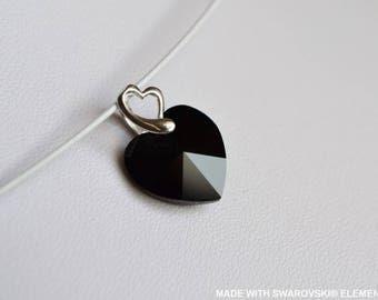 SWAROVSKI Crystal Black Heart pendant / 925 sterling silver