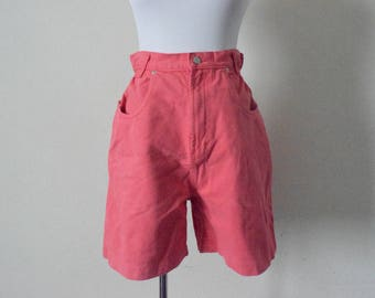 FREE usa SHIPPING Vintage high waist shorts/ cotton shorts/ Jordache/ elastic waist/ 1980s/ coral shorts/ size 12