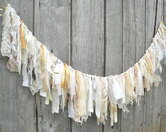 Shabby Wedding Banner, Country Chic Tattered Fabric Garland, Photo Prop Backdrop, Birthday Party Decoration, Cottage Mantle Display