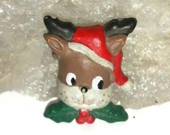Cute REINDEER Brooch Santa Reindeer Broach 80s Vintage Kawaii Christmas Deer Pin Santa Hat Holiday Jewelry Gift Animal Deer Lapel Scarf Pin