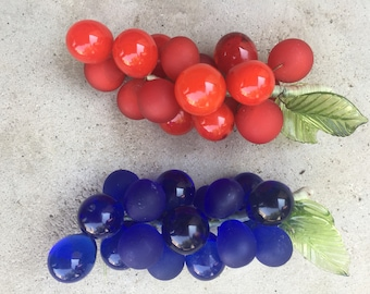 Vintage mini glass grapes red blue frosted table art gift 1960's dresser top unusual fruit