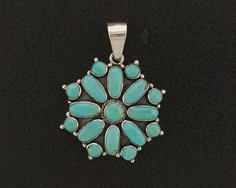 Turquoise Cluster Pendant - sterling silver