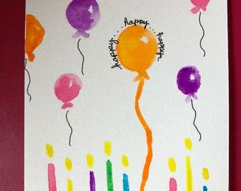 Handmade Watercolor Birthday Balloons Greeting Card