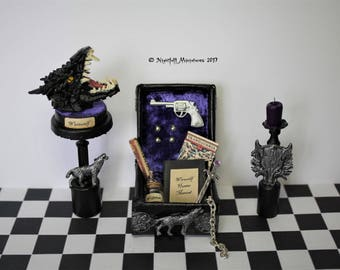 Dollhouse Miniature Gothic Werewolf Hunter Slayer leather kit case and werewolf head trophy in 1:12 scale