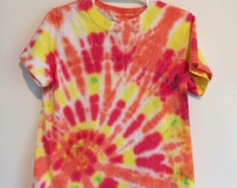 Kids small 6/8 tie dye tee. Red and yellow low spiral with orange burst.