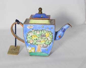 Maddicott Miniature Teapot  Bunch Of Cats In Tree  Hearts & Stars Hand Painted Enamel On Copper