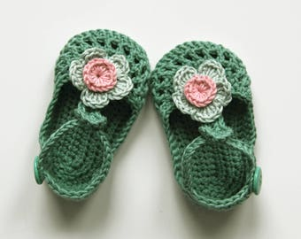IDA Baby Girl Shoes, Crochet Cotton Baby Booties, Green Mint Pink Baby Shoes, T-strap Baby Shoes,  Size 0-3 months, Ready to Ship