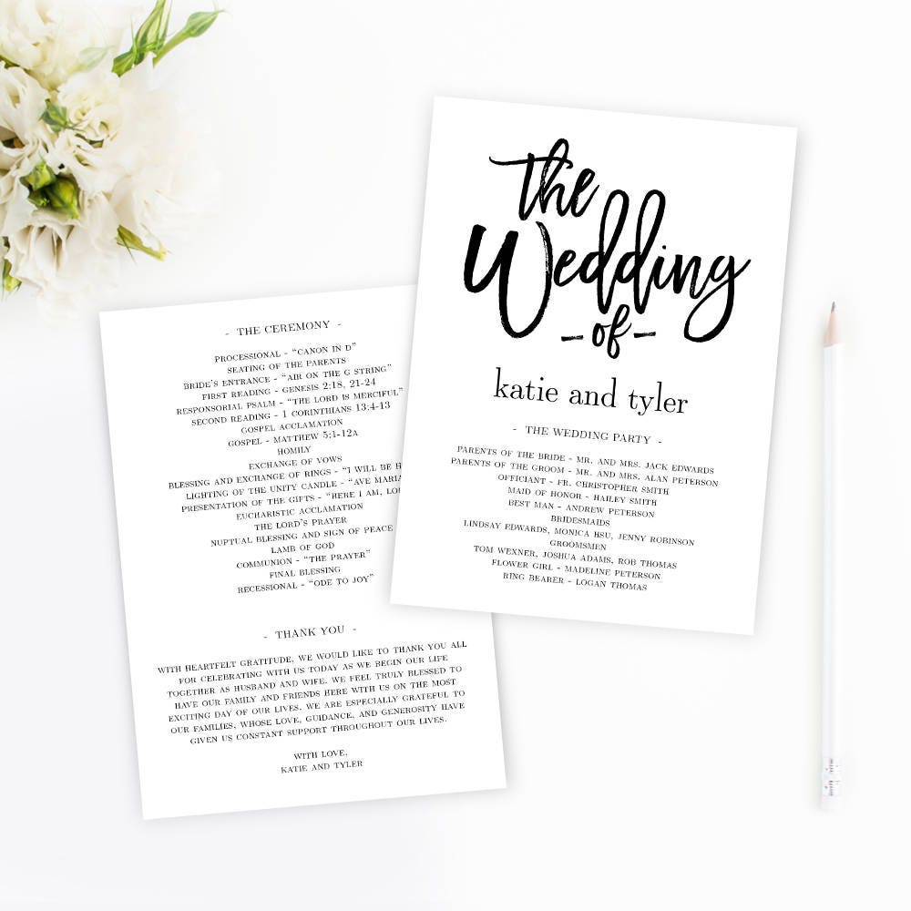 wedding program fan or flat wedding program templates printable