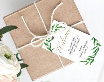 Greenery Welcome Tags - Printable Favor Tags - Wedding Favors - Welcome Tag - Editable Gift Bag Tags - Wedding Favor Tag - Printable Welcome